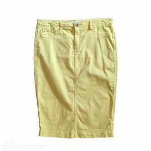 Robert Rodriguez Denim Pencil Skirt Yellow Size 8